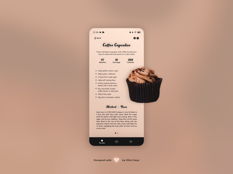DailyUI #040 - Recipe gradient funky carousel typogaphy coffee browns cupcake recipe app recipe space modernism modern design minimalism adobe illustrator adobe xd ux ui daily 100 challenge daily ui dailyui