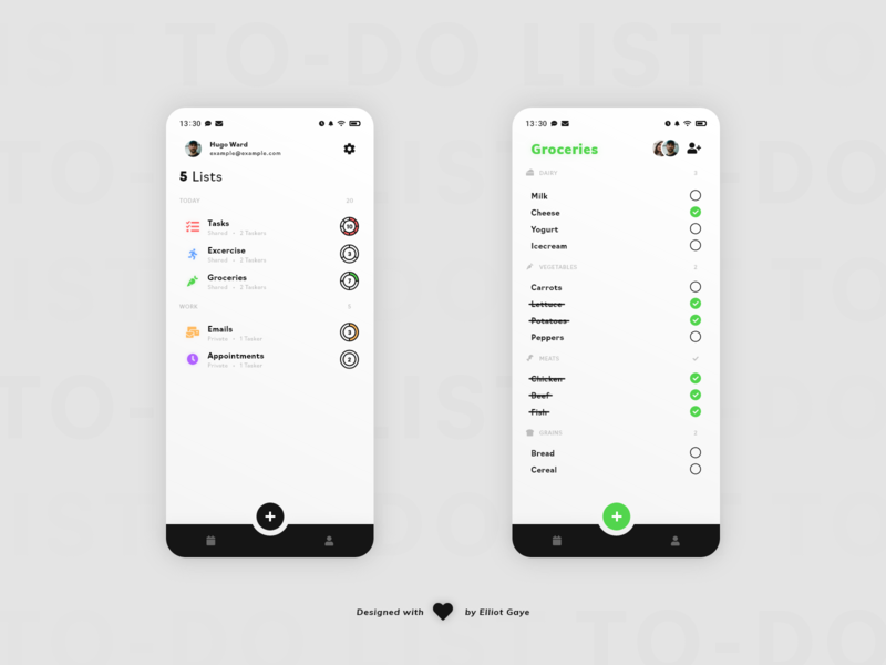 DailyUI #042 - To-Do List tasks task management app to-do list todo list iconography vibrant colors colours colour accents clean design clean ui simplicity mobile app design modern design minimalism adobe xd ux ui daily 100 challenge daily ui dailyui