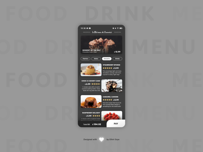 DailyUI #043 - Food/Drink Menu cards ui dessert desserts restaurant menu restaurant app menu design drink menu food menu food and drink sophisticated modernism mobile app design modern design adobe illustrator adobe xd ux ui daily 100 challenge daily ui dailyui