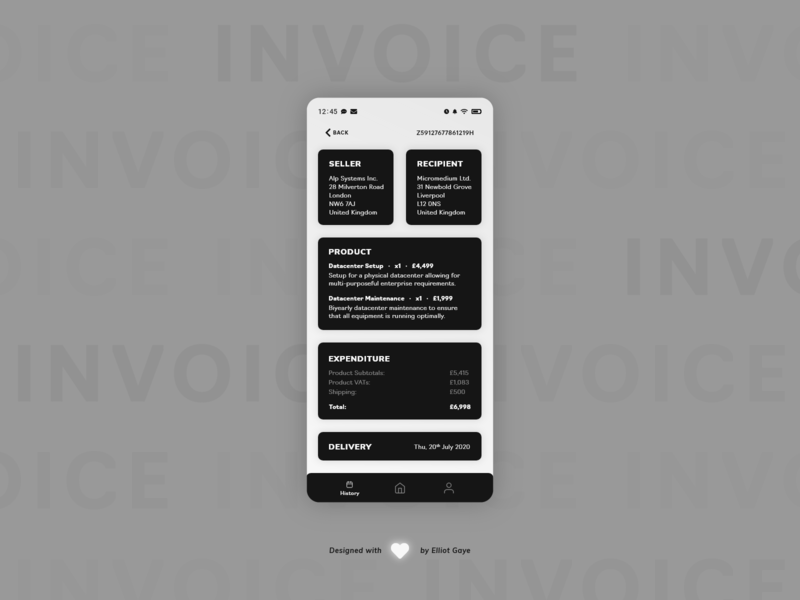 DailyUI #046 - Invoice monochromatic informational checkout check bill invoice design invoices invoice cards ui card design mobile app design modern design minimalism adobe illustrator adobe xd ux ui daily 100 challenge daily ui dailyui