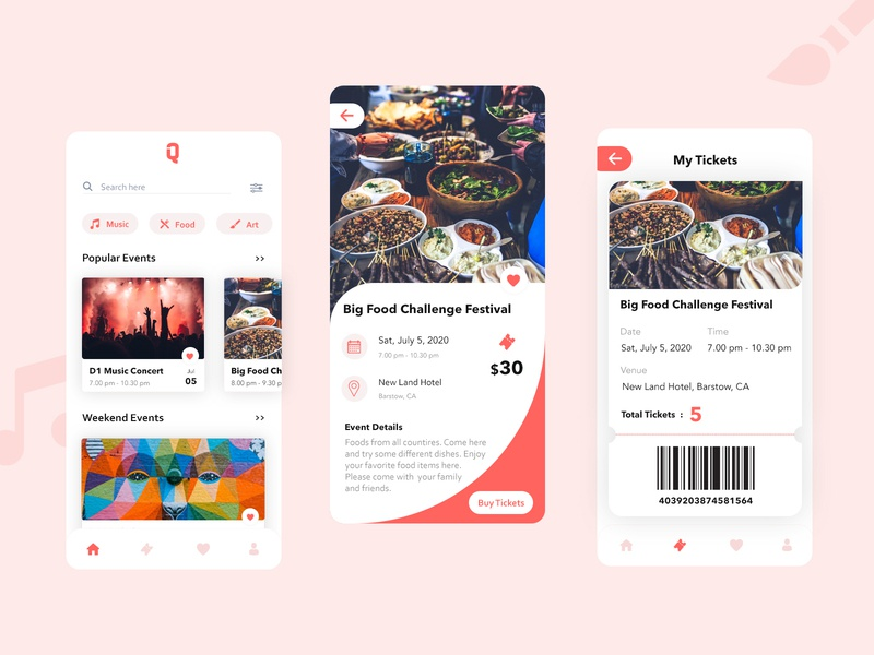 Event App Concept morden home home page mobile card dashboad clean android minimal iphone ios flat favourites calendar booking ticket booking tickets event app events app