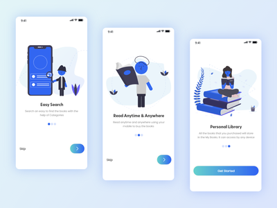 Book Reading App Onboarding search library online book online splash screen ui splash screen splash app concept app design app books book reading app book app onboarding design onboard ui onboard mobile onboarding illustration onboarding screens