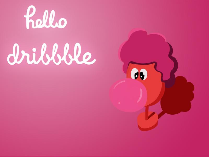 Hello Dribbble! debuts dribbble orange pink chewing gum typography design mascot photoshop cartoon drawing illustration hello hellodribbble