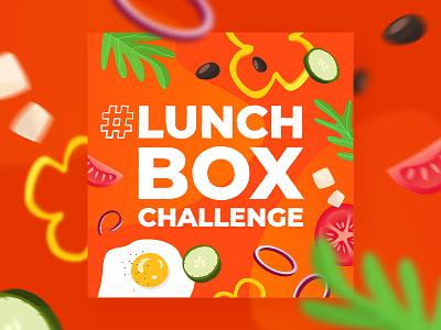 LunchBox Challenge olives orange onion salad paprika tomatoes fried egg vegetables green challenge lunch lunchbox social media graphic design