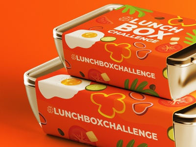 Lunchbox Challenge package design fried egg meal vegetables challenge lunch box graphic design