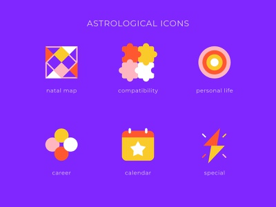 Astrological icons set vedic circles lightning calendar puzzle astrology icons set graphic design