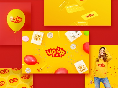 Up&Up Logo shop celebration holiday baloon party cheerful fun entertainment branding up logo