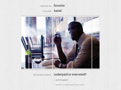 Chris Rhee - Custom Post (Jay-Z Edition) lyric web website wordpress personal adelle typekit post grid black and white quote