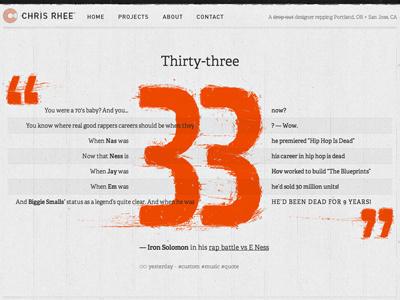 Chris Rhee - Custom Post (Iron Solomon Edition) web website wordpress personal adelle typekit post quote grid lyric