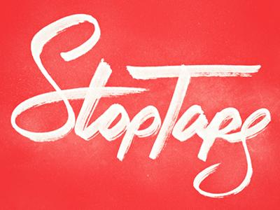 stop tape - in progress logo type typography wordmark hand drawn lettering