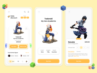 Action Figure App 3d simple mockup figure anime shop ecommerce ux ui minimal illustration design app