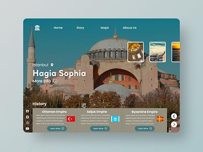 Hagia Sophia Landing Page Web Concept Design web ui ux ui branding website concept illustration website design web design web webdesign istanbul turkey mosque hagiasophia