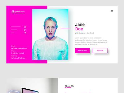 A web designer/developer portfolio design portfolio design ui design website devfreak landing page design ui web design adobe xd