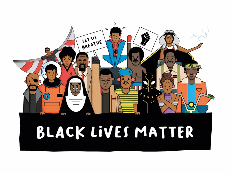 Black Lives Matter starwars spiderman space movies vector design illustration black lives matter
