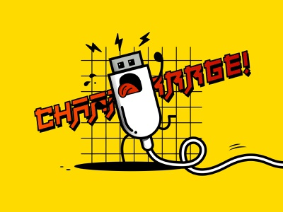 Charrrge!! character design character 2d computer japanese art japan japanese usb charger tech funny vector design illustration