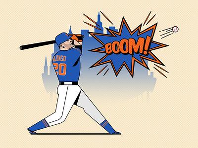 Boom! Boom! Alonso homerun baseball bat sports design sport orange blue alonso new york mets mets new york baseball character design vector design illustration