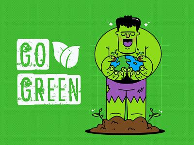 Go Green adobe illustrator illustrator plants earth green ecology marvel comics comic art comic marvel hulk character character design vector design illustration