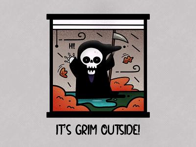 It's Grim Outside! skeleton weather grim reaper grim halloween design halloween funny character character design vector design illustration