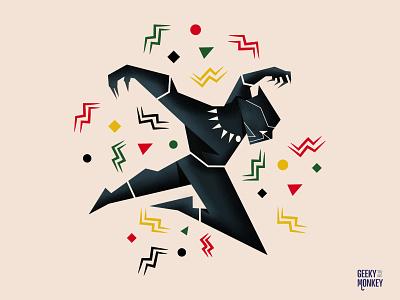 King T'Challa superhero wakanda chadwick boseman panther black panther comics marvel comics marvel avengers character character design movies vector design illustration