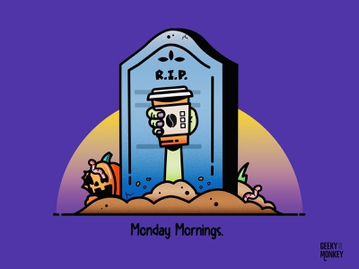 Monday Mornings are scary trick or treat trick hand character design zombie grave pumpkin coffee scary halloween vector design illustration