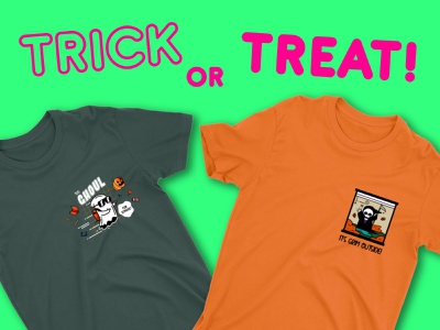 Halloween T-Shirts t-shirt vector trick or treat character candy holiday pumpkin horror spooky ghosts grim scary autumn october funny character design design illustration halloween