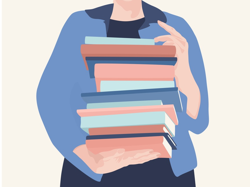Lady is holding a stack of books vector librarian hands lady stack of books books library character illustration cute flat
