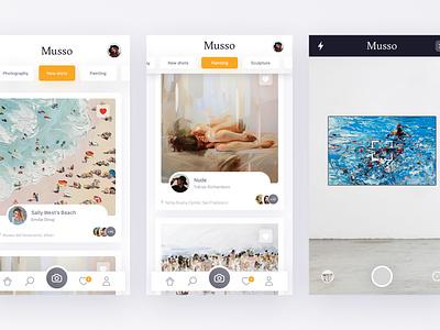 Musso app photo osx application webdesign card ui ux museum