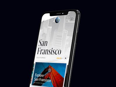 Travel App paris california map earth travel design interface app animation cards 3d clean ui concept mobile