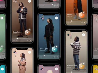 Colors Mobile App music music app animation cards clean app concept mobile