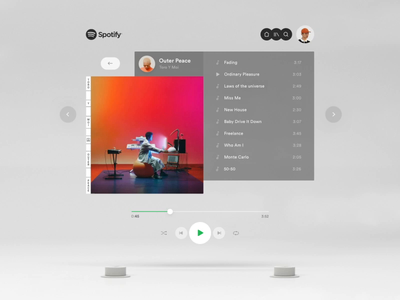 Spotify in Augmented Reality motion ar app interface music vr augmented reality clean ar