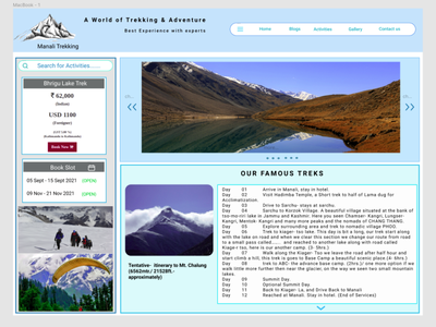 Himalyan Tourist travel agency trekking mountains design ux web ui react