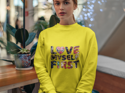 Love Myself First Text Design tshirt illustration typography graphicdesign stylish logo design