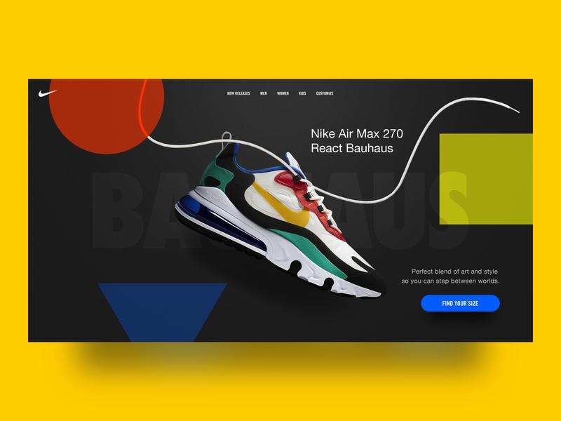 Nike Bauhaus Landing Page web website design web design website webdesign ux design uxdesign ux ui design uidesign ui  ux uiux ui landing page design landing page landingpage