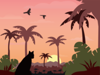 Cat on Sunset