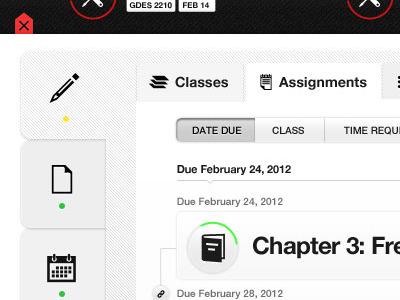 Assignment List dashboard ui