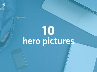 10 hero + 2 stationery pictures hero header website stationery items mac apple backpack iphone sketchbook