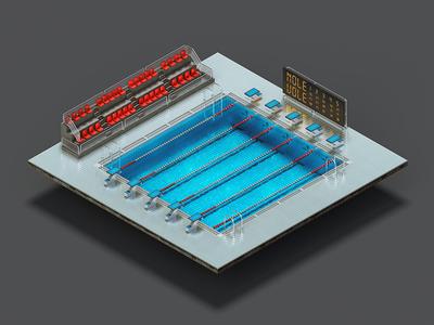 Pool pool swiming arena ortho isometric modo photoshop illustration icon sport