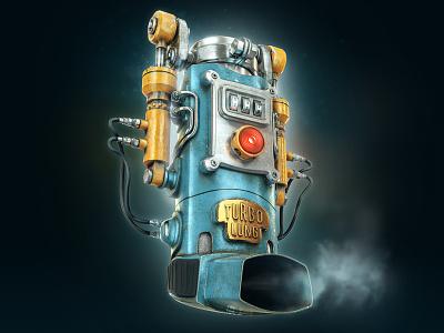TurboLung industrial illustration inhaler asthma modo cgi