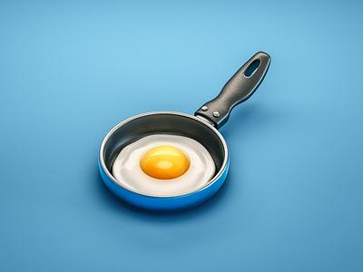 #stacemodajedemo Egg csheemoney modo illustration digital 3d cgi little pan food easy over eggs