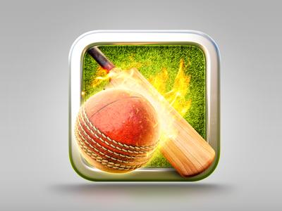 CricketIcon sports bat ball fire illustration icon cricket