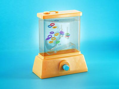 Water Tomy illustration render 3d toy vintage
