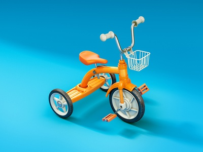 Tricycle render modo cgi 3d illustration cute bike children tricycle