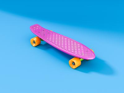 Penny Board 3d render cgi illustration children skate pennyboard