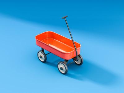 Toy Cart illustration 3d cgi children toy vintage toy cart
