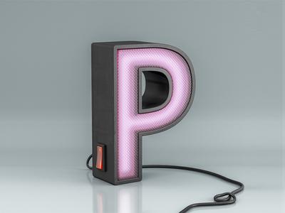 Letter P modo illustration render 3d cgi alphabet letter