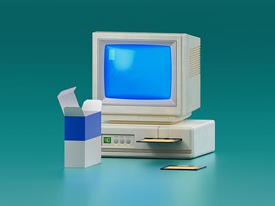 Windows Setup computer vintage windows paint icon cgi 3d illustration