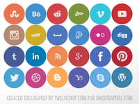 Free Rounded Flat Social Media Icons