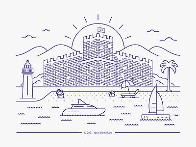 City Line Art | Bodrum landmarks design logo illustration icon linework summer castle travel turkey mugla art line lineart bodrum