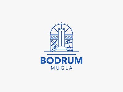 Bodrum Logo branding landmarks lineart art illustration illus graphic graphic design design emblem turkey windmill mandarin sun line icon belediyesi mugla bodrum logo