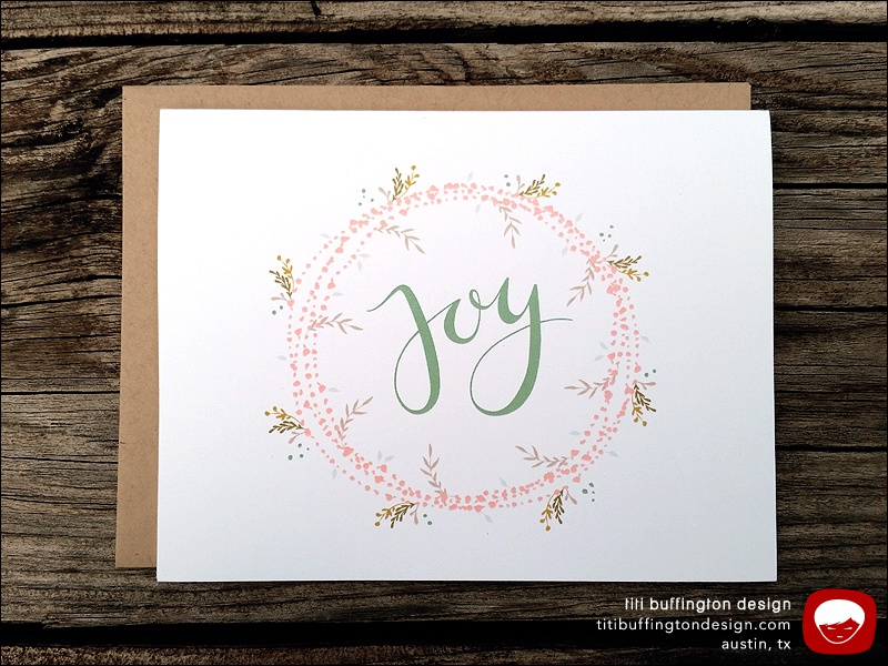 greeting cards joy handlettered holiday card by titi buffington